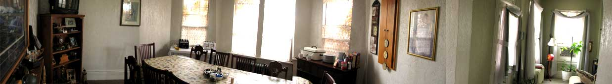 Panoramic image of dining room